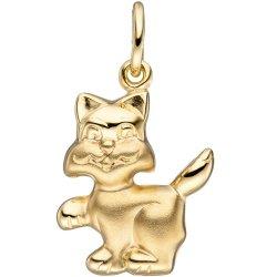 Anhänger Katze 333 Gold Gelbgold matt mattiert Goldanhänger