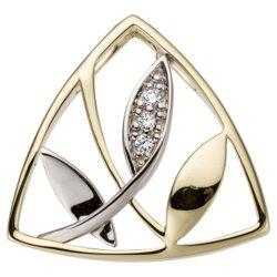 Anhänger 585 Gold Gelbgold Weißgold bicolor 3 Diamanten Brillanten 0,03ct.