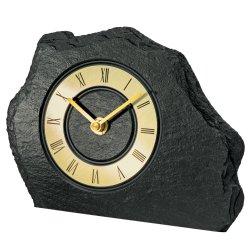 AMS 1105 Tischuhr Quarz golden Schiefer Naturschiefer Schieferuhr