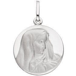 Anhänger Madonna 925 Sterling Silber rund mattiert Silberanhänger