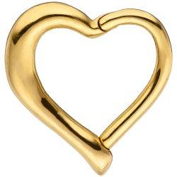 Segmentring Herz Edelstahl gold farben beschichtet Scharnier Ringstärke 1,2 mm