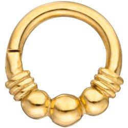 Segmentring Edelstahl gold farben Klick-System Scharnier Ringstärke 1,2 mm