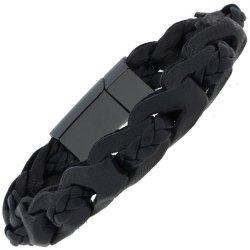 Armband 2-reihig Leder mit Keramik schwarz geflochten 23 cm
