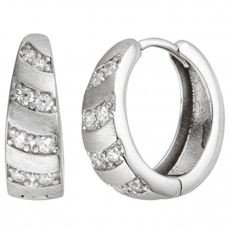 Creolen 925 Silber matt 16 Zirkonia Ohrringe Silbercreolen Silberohrringe
