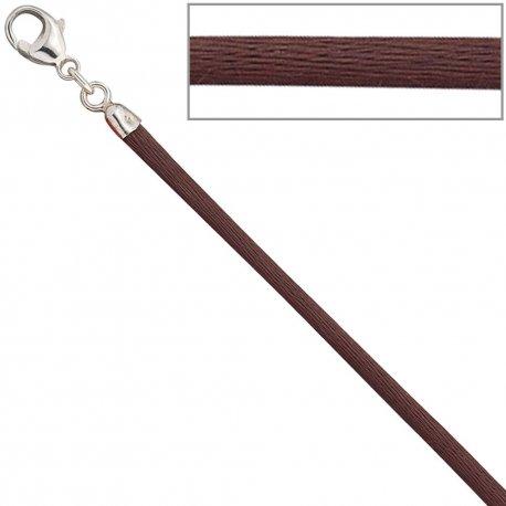 Collier Halskette Seide braun 2,8 mm 42 cm, Verschluss 925 Silber Kette