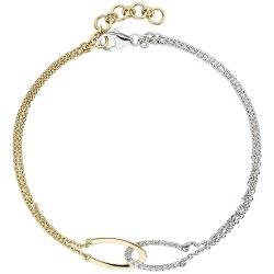 Armband 2-reihig 585 Gold Gelbgold Weißgold bicolor 18 Diamanten 19,5 cm