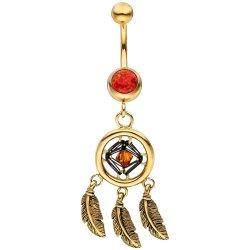 Bauchnabel Piercing Traumfänger Edelstahl gold farben beschichtet 2 Opale