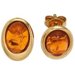 Ohrstecker oval 375 Gold Gelbgold 2 Bernstein-Cabochons orange Ohrringe