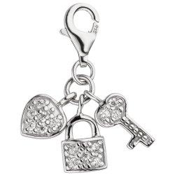 Einhänger Charm Schlüssel zum Herzen 925 Silber 14 Zirkonia Silberanhänger