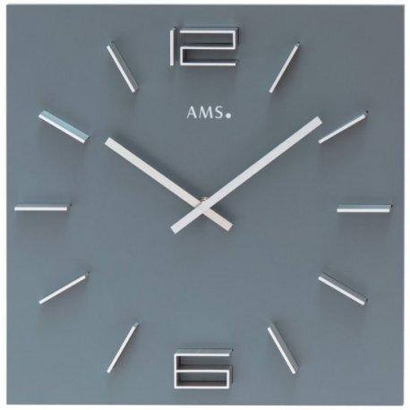 AMS 9594 Wanduhr Quarz analog grau viereckig