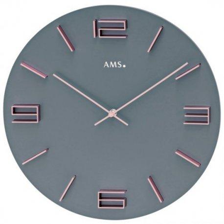 AMS 9590 Wanduhr Quarz analog grau mit rosa