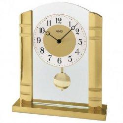 AMS 1117 Tischuhr Quarz mit Pendel golden Metall mit Aluminium und Glas