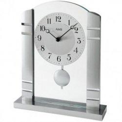 AMS 1118 Tischuhr Quarz mit Pendel silbern Metall mit Aluminium und Glas