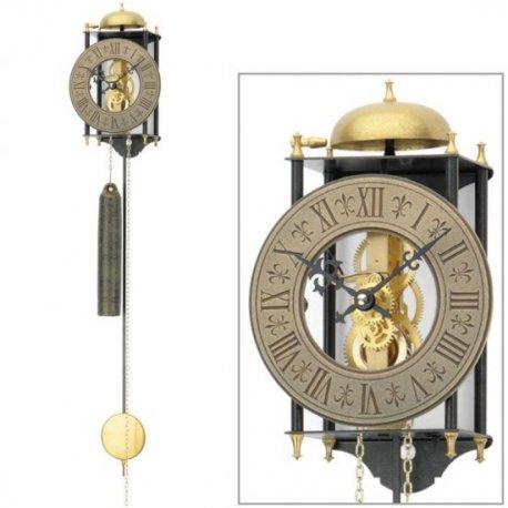 AMS 301 Wanduhr mit Pendel mechanisch golden schwarz Metall Pendeluhr Skelettuhr