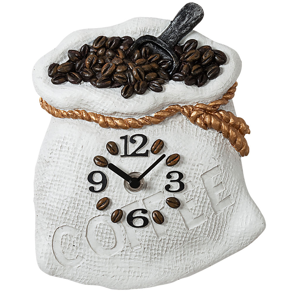 Details zu Atlanta 6106 Küchenuhr Wanduhr Küche Quarz analog weiß braun  Motiv Kaffeesack