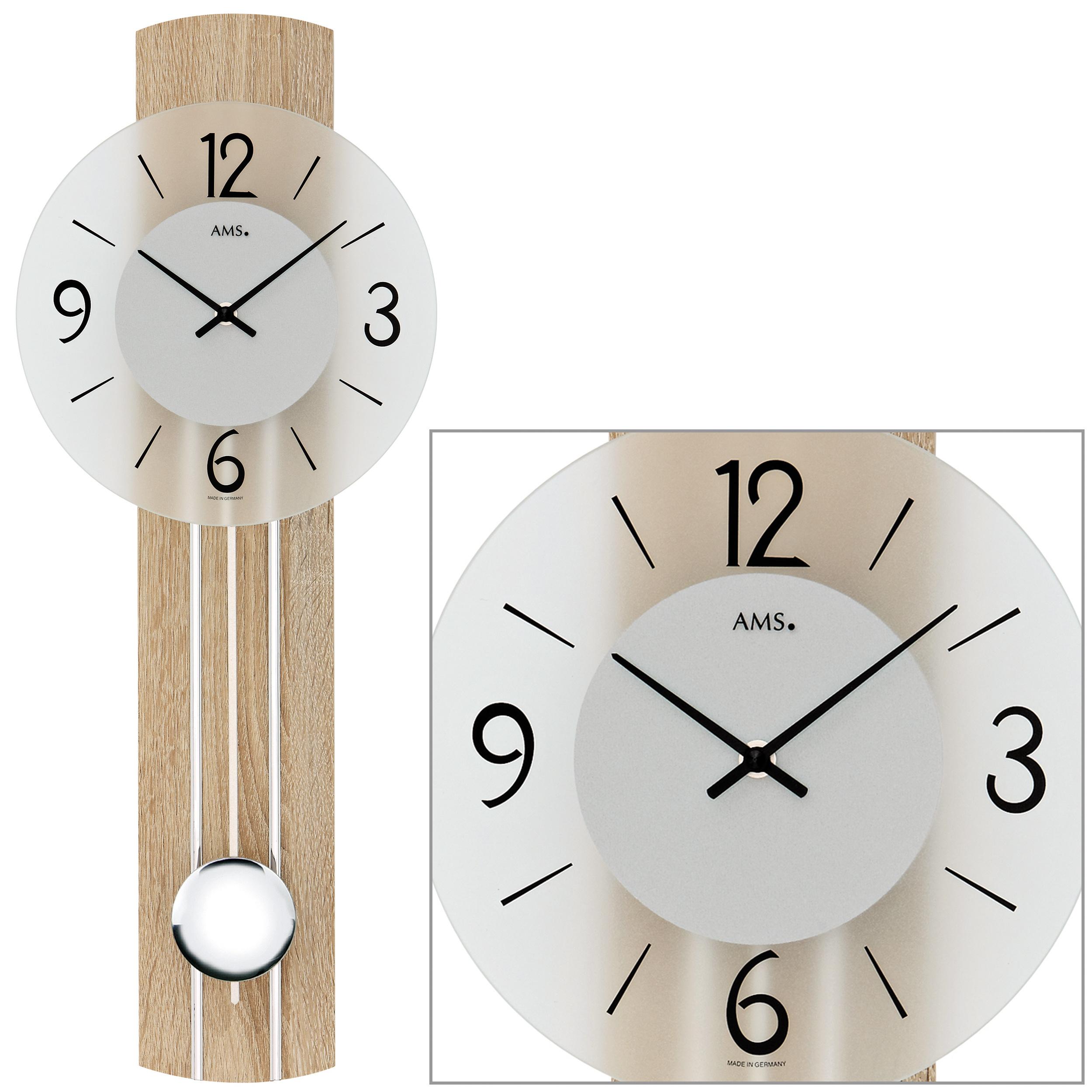 Details Zu Ams 7274 Wanduhr Quarz Mit Pendel Holz Sonoma Optik Pendeluhr